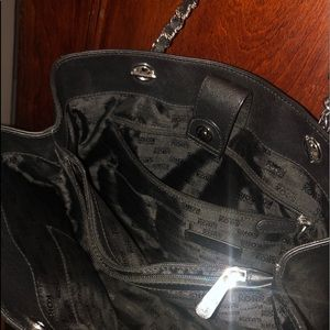 Black & silver leather MK purse